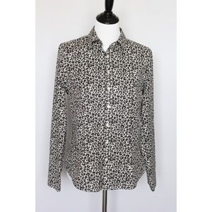 Talbots Button Down Shirt Size 8 Leopard Print